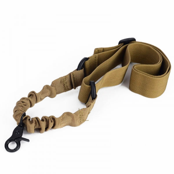 Outdoor Adjustable Bungee Single One Point Sling Elastic Belt Strap Rope Cord with Buckle Khaki
