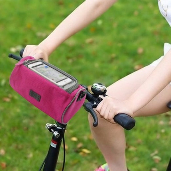 Outdoor Bicycle Bike Pouch Handlebar Bag with Touch Screen Cover for Max 10inch Smartphone Rose Red