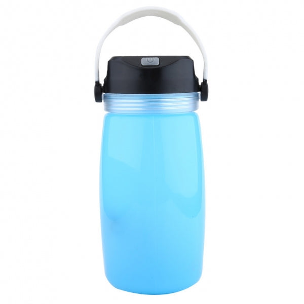 Outdoor Foldable Waterproof Solar Water Bottle LED Light Blue