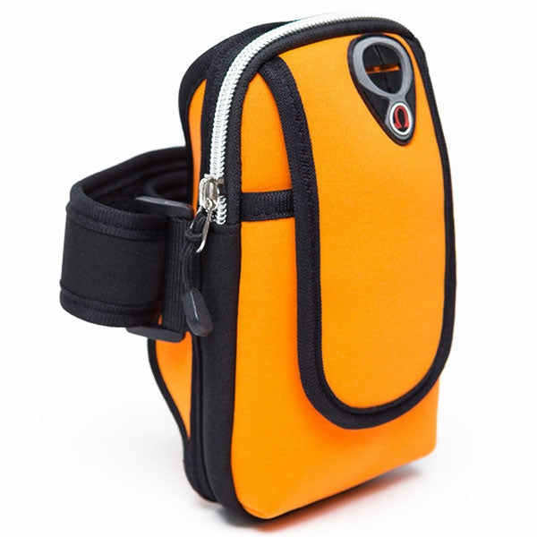 Outdoor Sports Water Resistance Adjustable Double Zipper Arm Bag for 5.5inch Mobile Phone Orange
