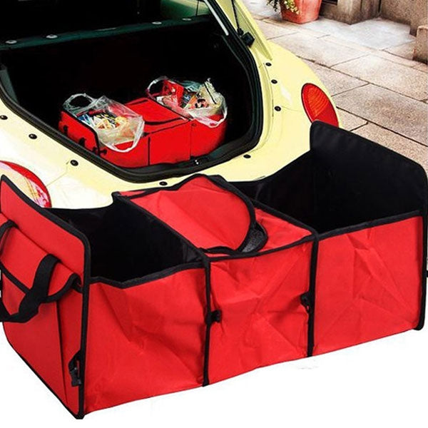 Oxford Cloth Collapsible Car Storage Box Trunk Storage Compartment Red