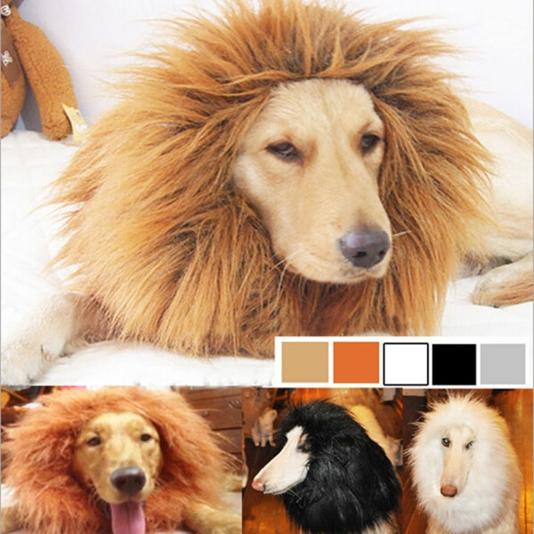 Pet Lion Mane Wig Halloween Costume for Dog Cat Light Brown