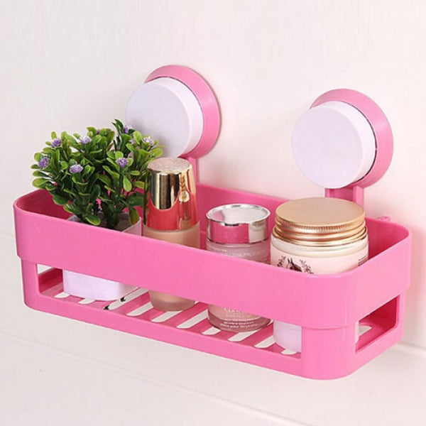 Bathroom Plastic Suction Cup Shelf Wall Hanging Basket - Pink