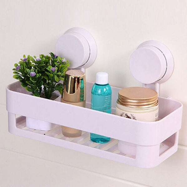 Bathroom Plastic Suction Cup Shelf Wall Hanging Basket - White