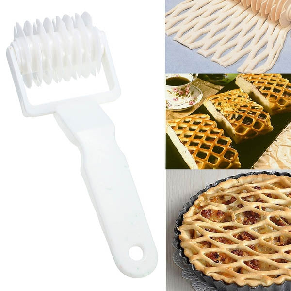 Plastic Pizza Lattice Roller Cutter Pie Bread Pastry Baking Tool White
