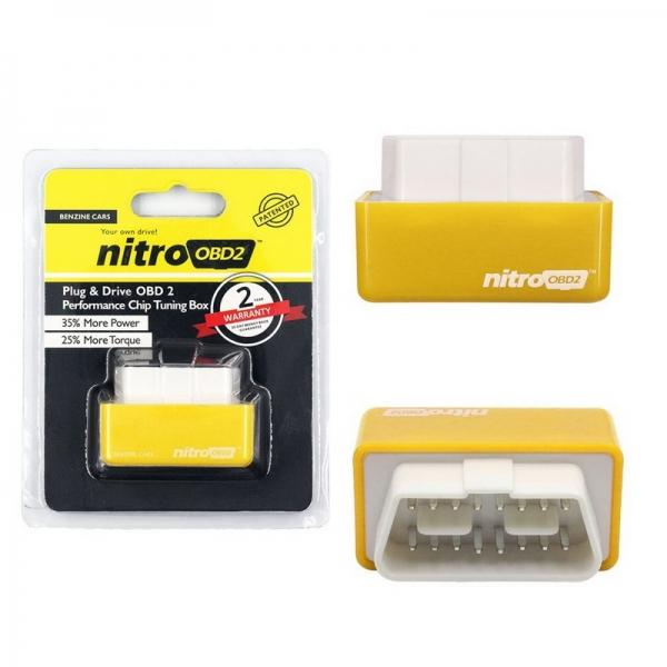 Plug & Drive Nitro OBD2 Benzine Cars Performance Chip Tuning Box Power Fuel Optimization Device 35% More Power & 25% More Torque Yellow - stringsmall
