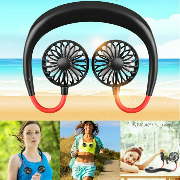 Portable Hand Free USB Rechargeable Neckband Lazy Neck Hanging Style Dual Cooling Sports Fan - Black
