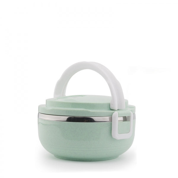 Portable 1 Layer 700mL Lunch Box Stainless Steel Thermal Bento Box Food Container Light Green