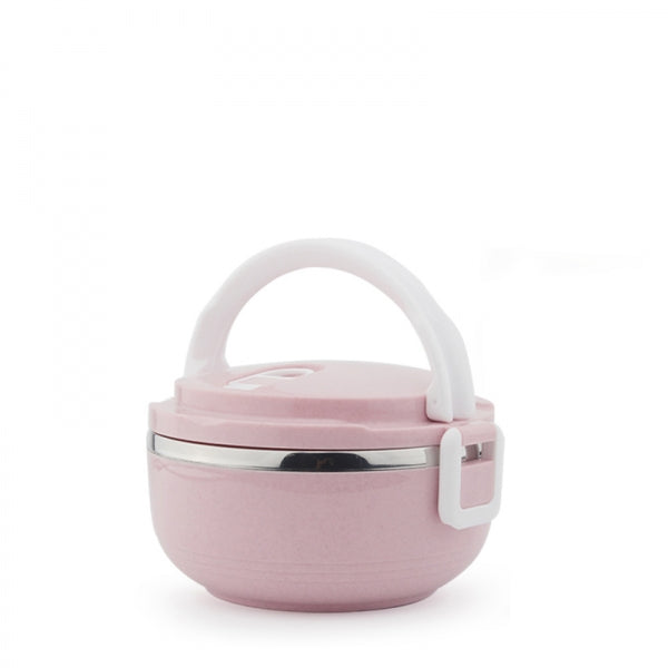 Portable 1 Layer 700mL Lunch Box Stainless Steel Thermal Bento Box Food Container Light Pink