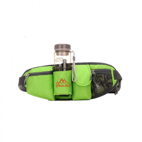 Portable Multifunction Bottle Carrier Outdoor Waist Bag Sports Pack Bag Storage Phone Bag Green