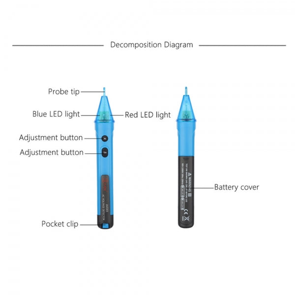 Portable Non-contact AC Voltage Test Pencil Detector LED Light Alert Electric Voltage Tester 12-1000V Detection
