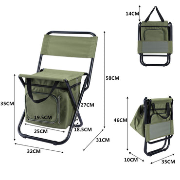 Portable Outdoor Folding Ice Pack Chair Storage Bag with Backrest Insulation Function 3 In One Leisure Camping Fishing Chair