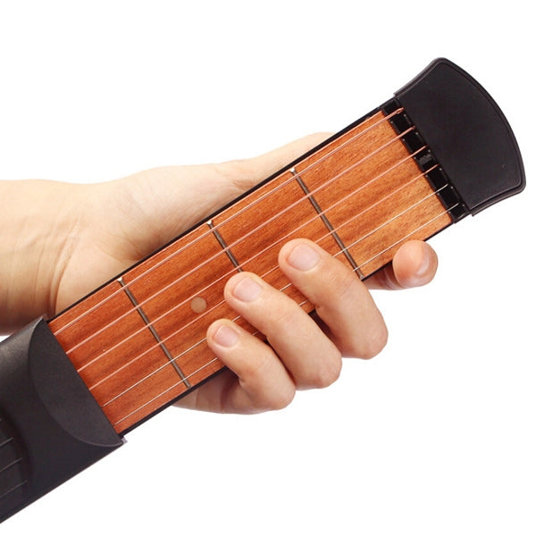 Portable Pocket Guitar Practice Tool Gadget Guitar Chord Trainer 4 Fret Guitar Chord Trainer Black & Wood Color