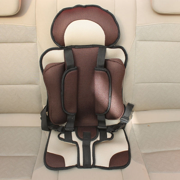 Portable Thickened Baby Child Safety Car Seat Fit Age 2- 12 Years Old Beige & Coffee L