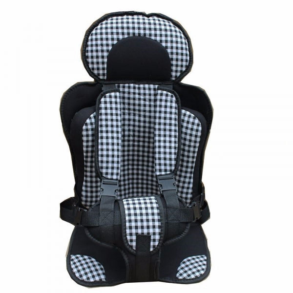 Portable Thickened Baby Child Safety Car Seat Fit Age 2 - 12 Years Old - Size L & Black Plaid