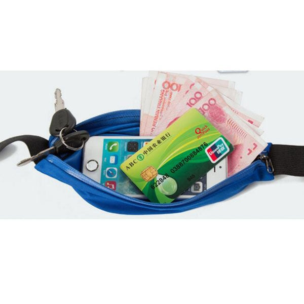 Practical Life Water resistant Zippers Waist-bag Stretch Pockets Outdoor Purses with Adjustable Strap Blue