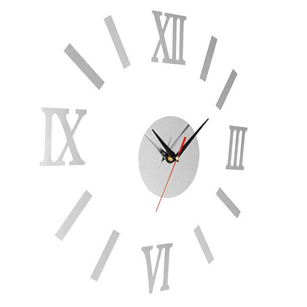 Quiet Sweep Quartz Acrylic Mirror Sticker DIY Wall Clock with Roman Numeral Hour-marker Silver