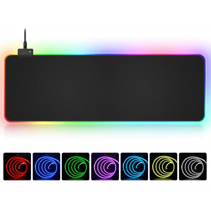 RGB Soft Large Gaming Mouse Pad Oversize Glowing Led Extended Mousepad Non-Slip Rubber Base Computer Keyboard Pad Mat