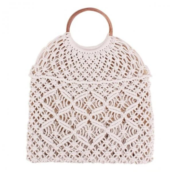 Rattan Cotton Hollow Straw Without Lining Retro Net Bag Beach Shoulder Bag - White - stringsmall