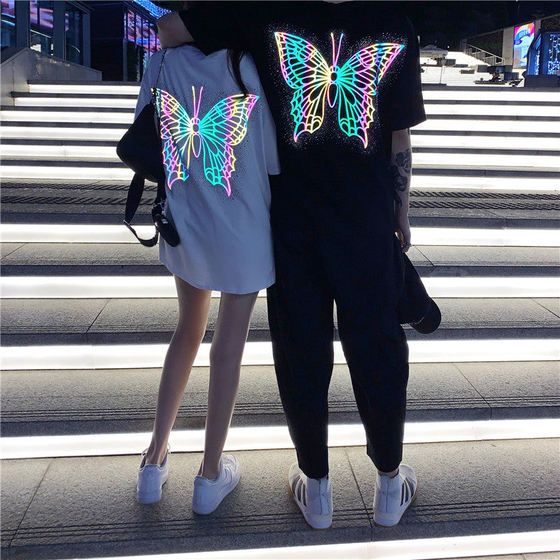 Laser Printing Butterfly Cotton T-shirt Girls Fashion Summer Short Sleeve O-neck Reflecting Tshirts