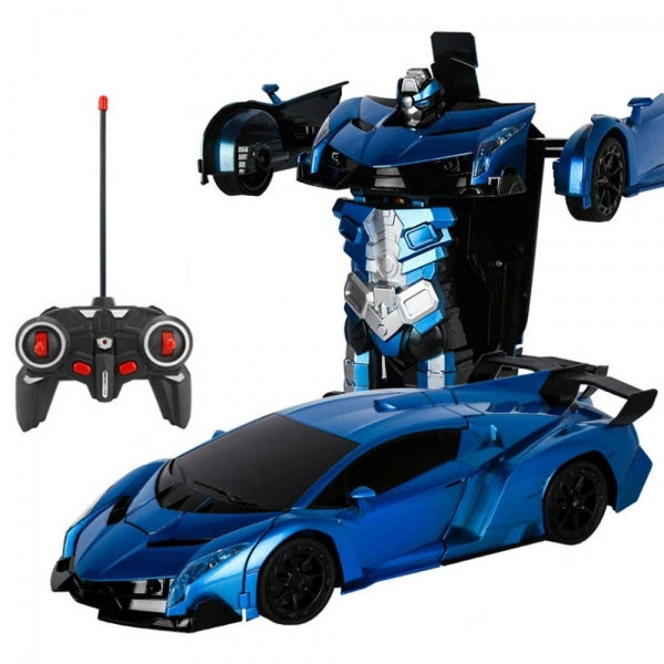 Remote Control One-key Automatic Transform Robot Deformation Car Toys Plastic Lamborghini Model Funny Action Figures For Boys Gifts Kid - Blue