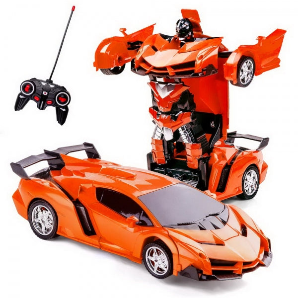 Remote Control One-key Automatic Transform Robot Deformation Car Toys Plastic Lamborghini Model Funny Action Figures For Boys Gifts Kid - Orange