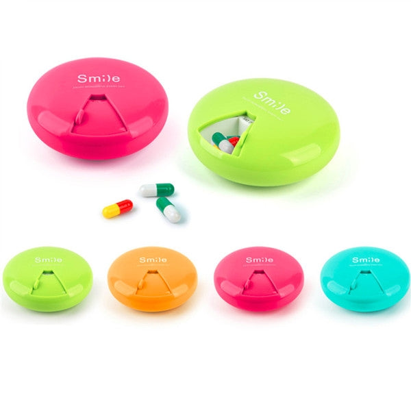 Round Smile Pattern Mini Portable Plastic Jewelry Pills Travel Storage Box Multi Functional Box Blue