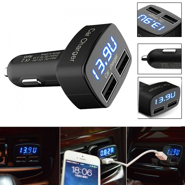 SD55 Double USB Ports 3.1A Car Cigarette Charger Adapter Voltmeter Ammeter Tester Charge