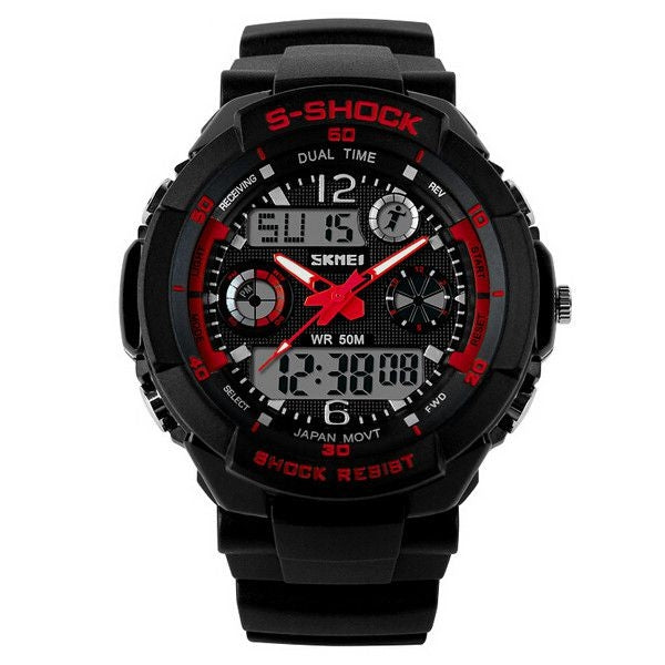 SKMEI Multifunction Digital Alarm Waterproof Men Sport Watch Red