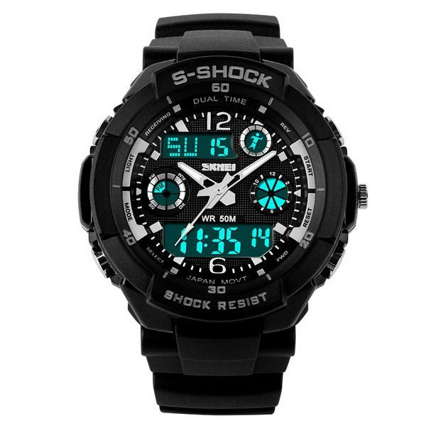 SKMEI Multifunction Digital Alarm Waterproof Men Sport Watch Silver