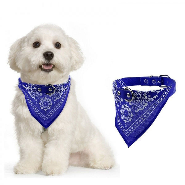 Scarf Dog Collar Lead Adjustable Dog Bandana Necklace Pet Dog Cat - M Blue