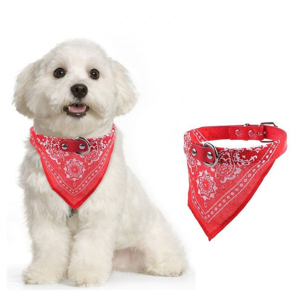 Scarf Dog Collar Lead Adjustable Dog Bandana Necklace Pet Dog Cat - S Red
