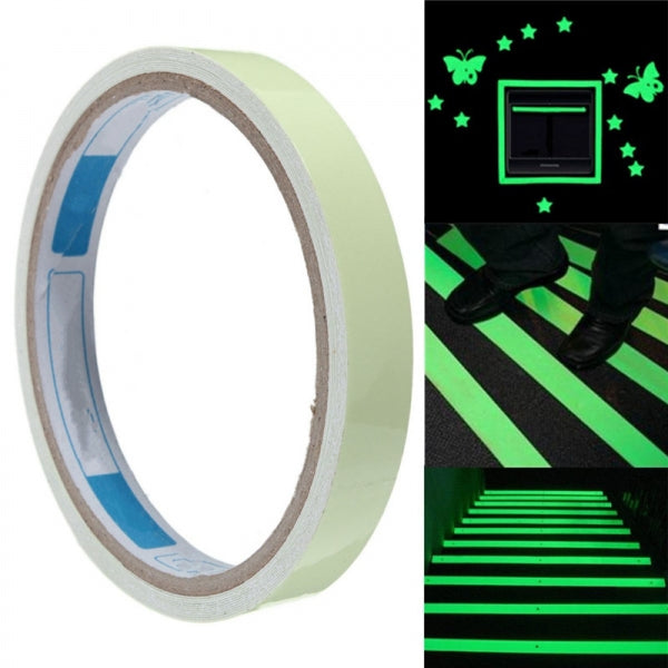 Luminous Tape Waterproof Self-adhesive Glow In The Dark Safety Stage Home Warning Tape Green 1cm x 3m
