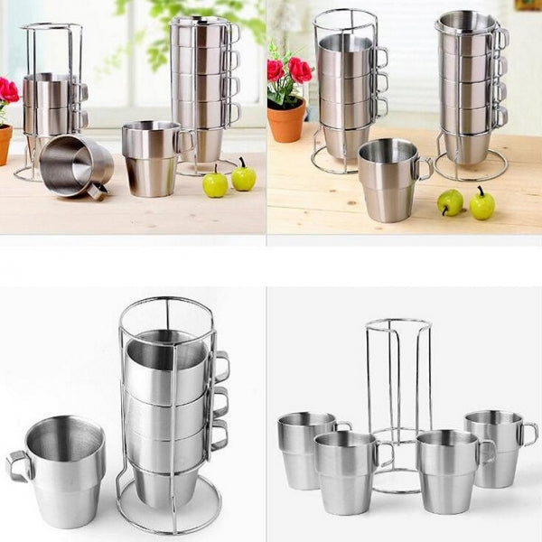 Set of 4 Stainless Steel Double Layer Heat Insulation Coffee Cups