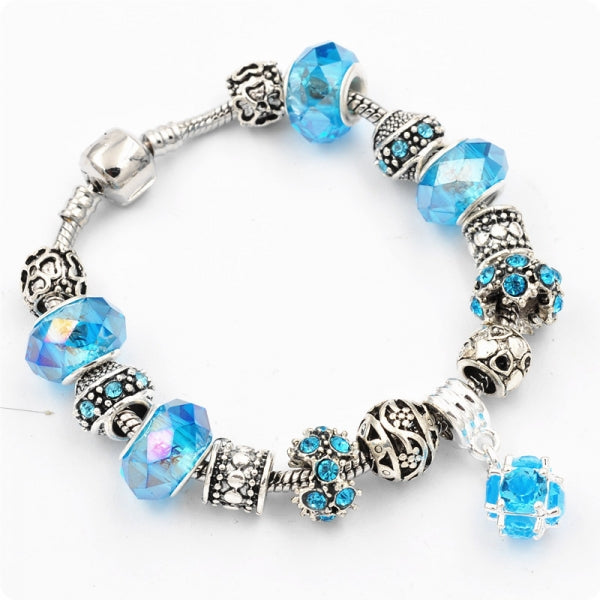 Silver Plated Charming Crystal Beads Bracelet with Pendant Jewelry Gift Blue