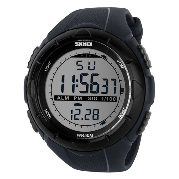 Skmei LED Digital Military Watch Fashion Sports Waterproof Men Wrist Watch Gray