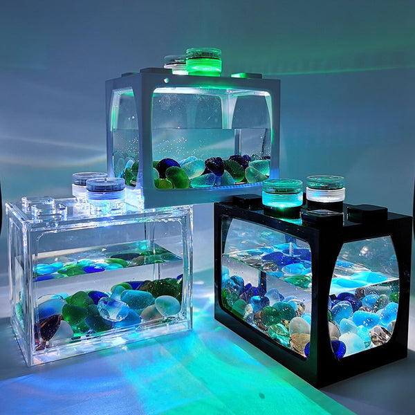 Small Fish Tank Small Desktop Creative Ecological Pot Micro Landscape Betta Tank Mini Tropical Fish Aquarium with LED Light