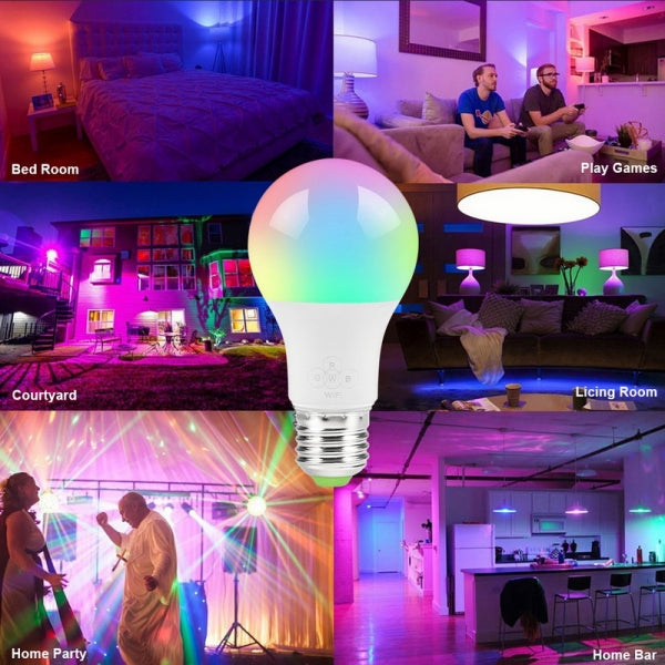 Smart WIFI Bulb E27 LED Light RGB Bulb Work With Alexa Google Home 9W