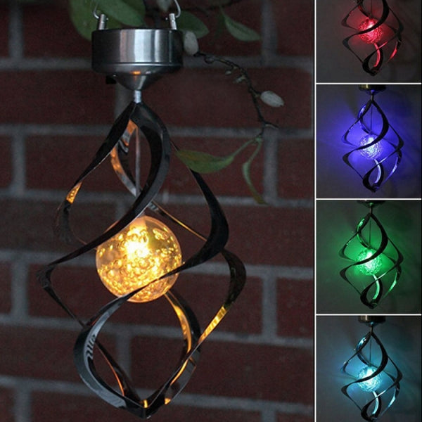 Outdoor Solar Power LED Lights Wind Spinner Wind Chime Light