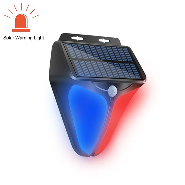 Solar Led Warning Indicator Light Outdoor With Motion Sensor Police Light Solar Battery Powered For Garden Farm Factory Lighting