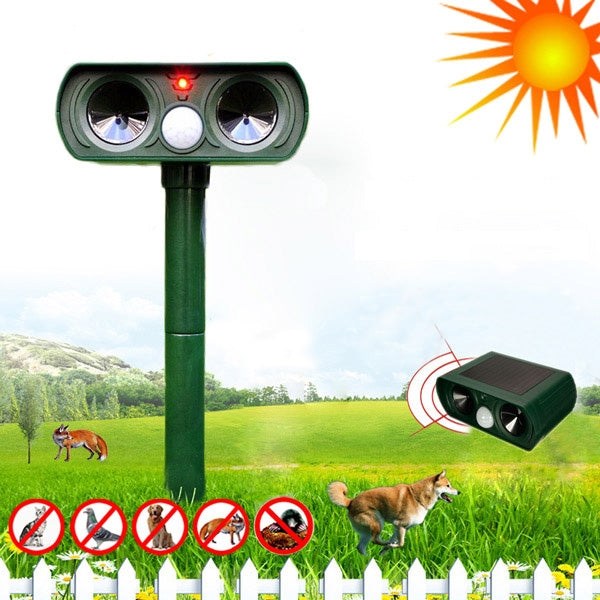 Solar Power Ultrasonic Cat Dog Repeller Infrared Sensor Telescope Shape / Half Arc