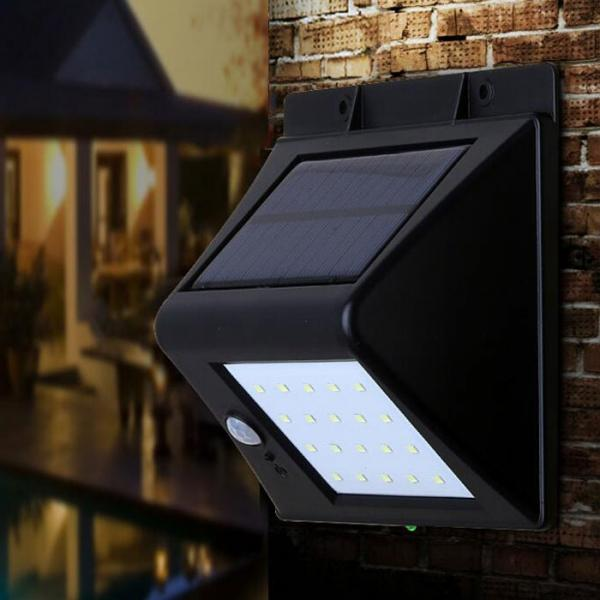 Solar Powered 20-LED Motion Sensor Light Outdoor Garden Patio Pathway Waterproof Lamp Black
