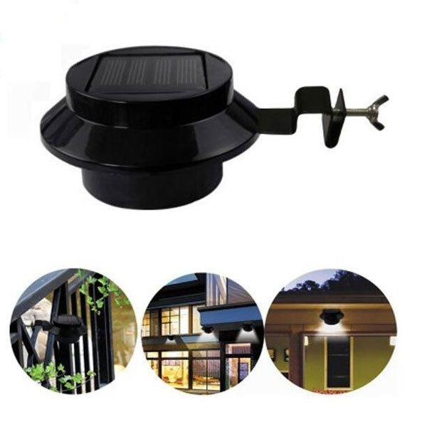 Solar Powered LED Fence Light Outdoor Garden Wall Lobby Pathway White Light Lamp Black