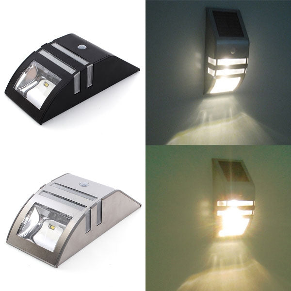 Stainless Steel Solar Power Highlight 2-LED PIR Induction Wall Light with Warm Yellow Lamplight Stainless Steel