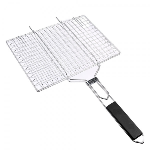 Stainless Steel Square Non-stick Barbecue Rack BBQ Grilling Basket with Removable Wooden Handle KW3010