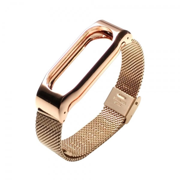 Stainless Steel Metal Frame Watch Strap for Xiaomi Mi Band 2 Roes Gold