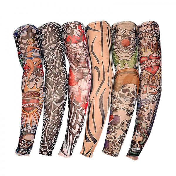 1 Pair/2 Pairs Sun Protection Cycling Arm and Leg Tattoo Sleeve  for Go Cycling Do Sports Outdoors Party Halloween Props - Random Delivery
