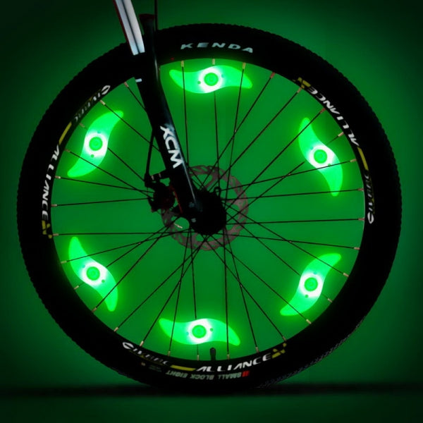 Super Bright LED Bike Spoke Light Wire Tire Tyre Wheel Light Bicycle Safety Alarm Light - Green