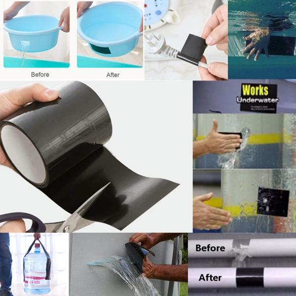 Super Strong Adhesive Waterproof PVC Waterproof Stop Leaks Seal Repair Tape 4.5cm*15m Black