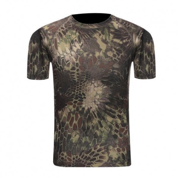 Tactical Camouflage Breathable Quick Dry Army Combat T-Shirt for Men Green Pythons - XXL
